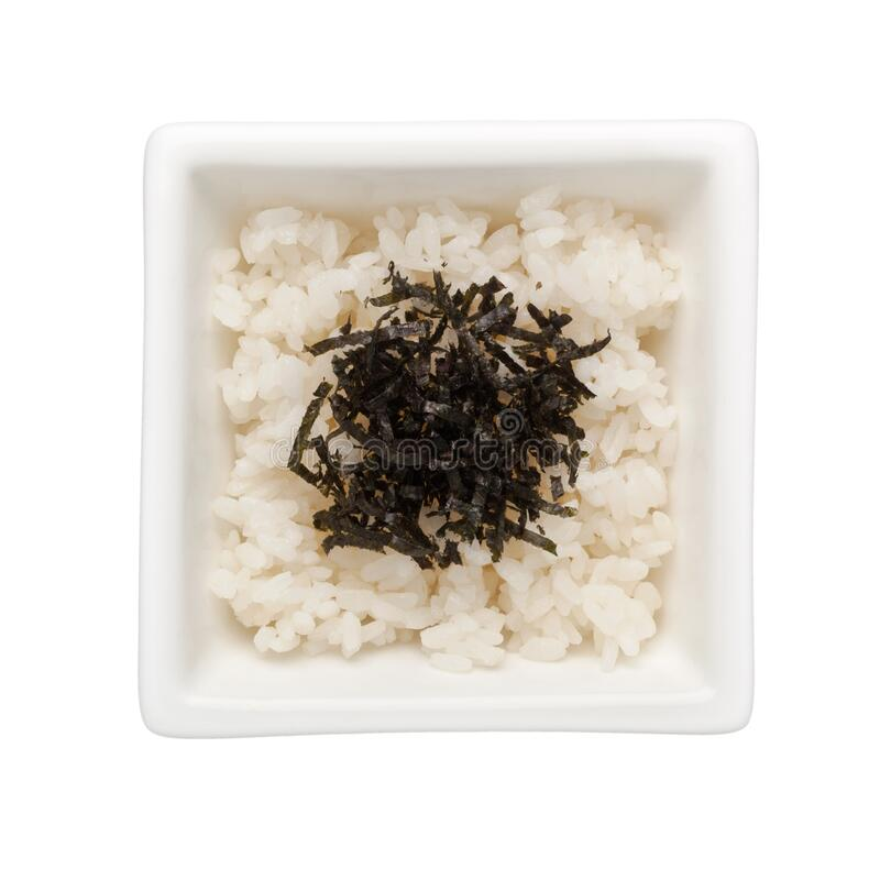 Japanese rice with seaweed topping stock photos