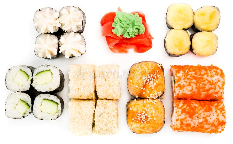 Japanese rolls, ginger and wasabi on white background stock photo