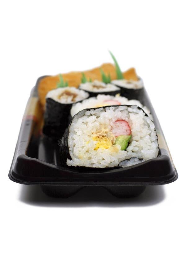 Japanese rolls sushi casserole royalty free stock photo