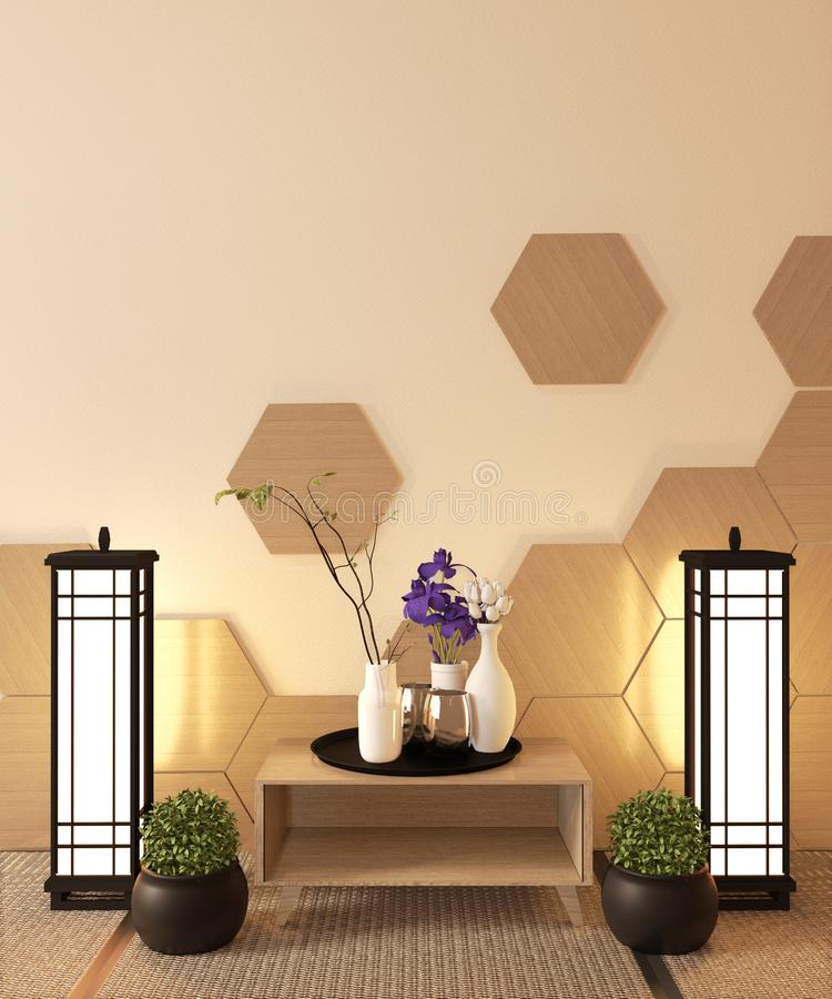 InterJapanese Ryokan, living room zen style with Hexagon tile on wall and tatami mat floor, decoration japanese style.3D rendering royalty free stock images