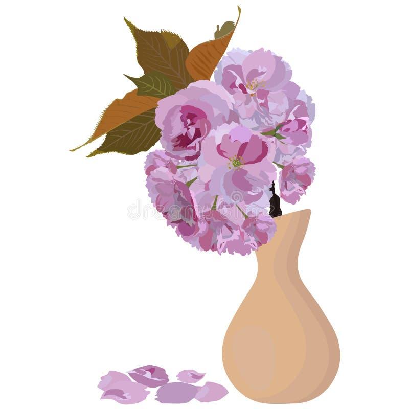 Japanese sakura blossom branch in vase vector isolated illustration royalty free stock photo