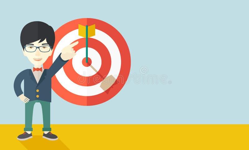 Japanese salesman hit the sales target vector illustration