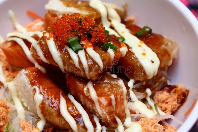Japanese Salmon Salad royalty free stock photos