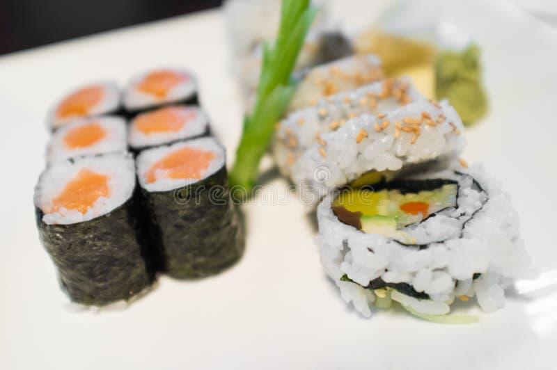 Salmon Sushi Roll stock image
