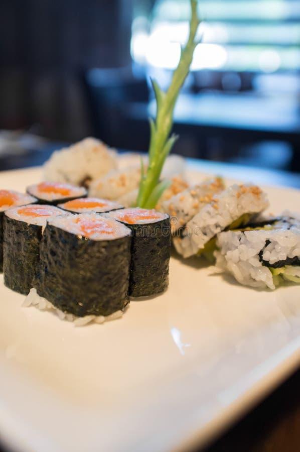 Salmon Sushi Roll stock photos