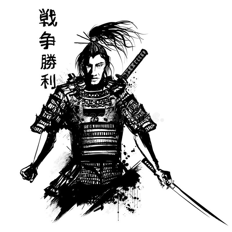 Japanese Samourai With Sword Stock Vector Illustration Of Ancient