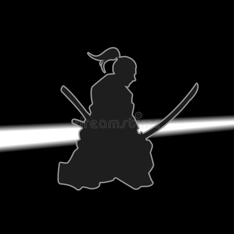 A Japanese Samurai Holding the Katana.  royalty free illustration
