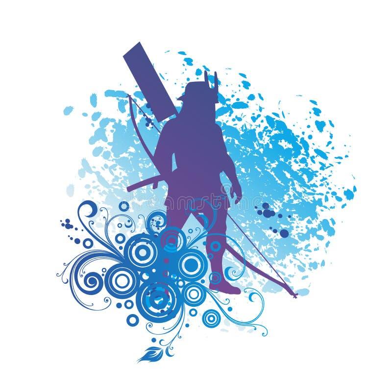 Japanese Samurai, Japanese Soldier, Archer.  stock illustration