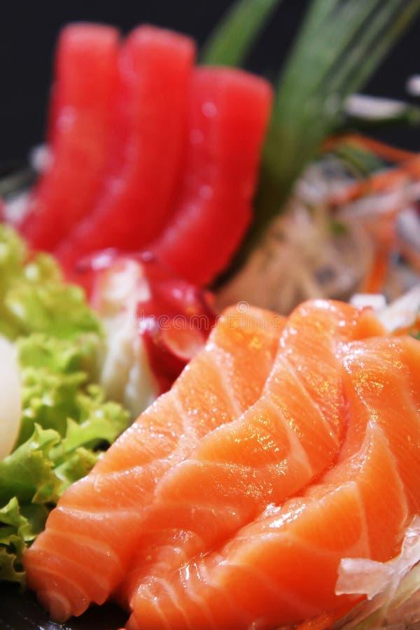 Japanese Sashimi. Japanese food Sashimi, raw salmon fish slices stock images