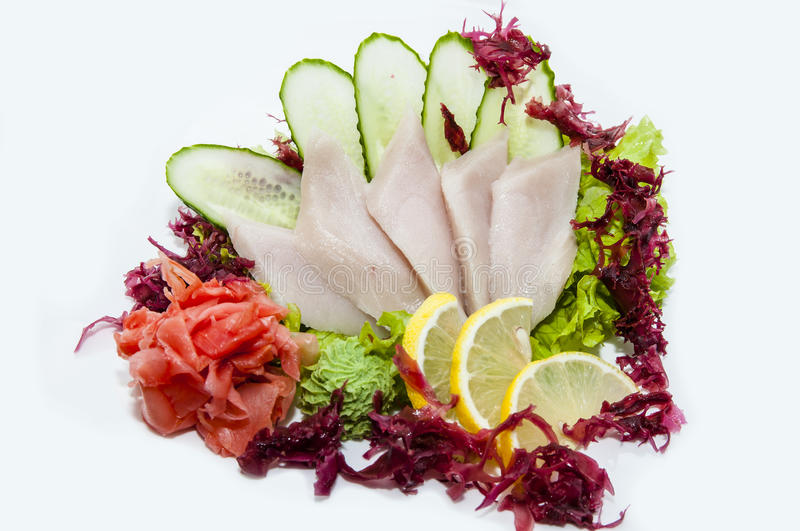 Japanese sashimi. On a white background in a Japanese restaurant stock images