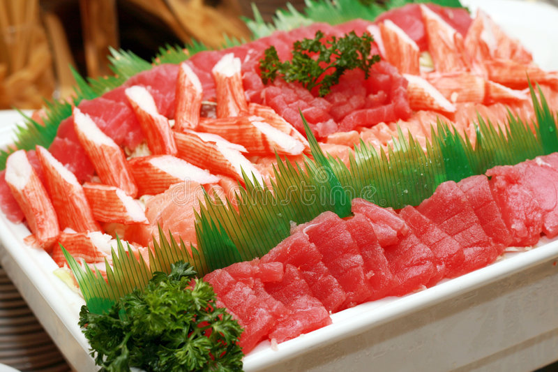 Japanese sashimi. Food served in a big dish stock photo