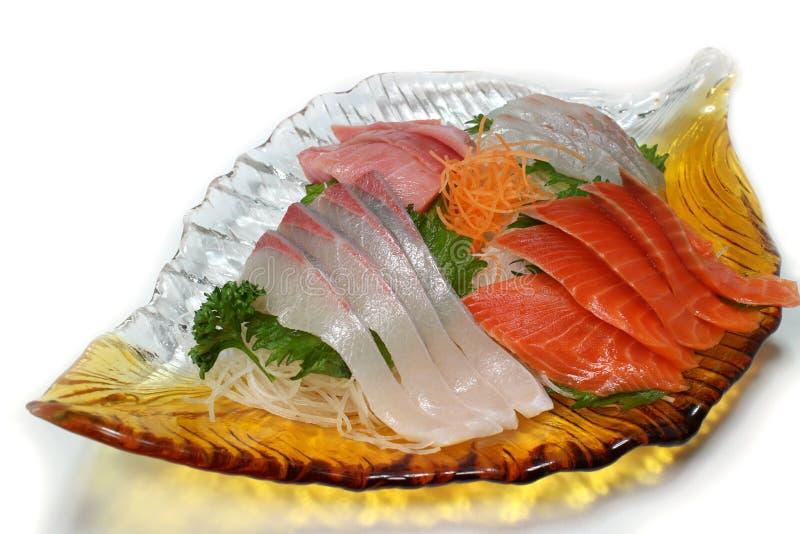Japanese sashimi assortment close up in the white. Background stock photography