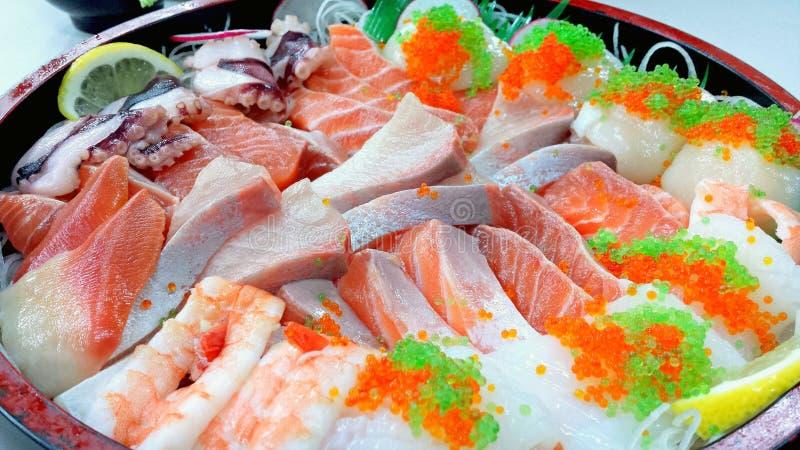 Japanese sashimi bowl. Raw fish royalty free stock photos