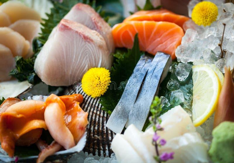 Japanese sashimi. Japanese cuisine - mixed sashimi(slice raw fish) plate stock photo