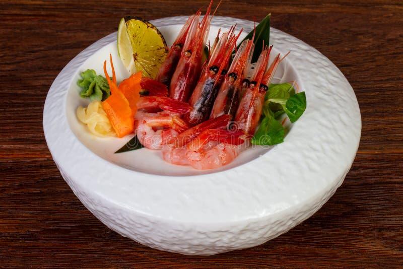Japanese sashimi Prawn. Japanese cuisine sashimi sweet Prawn royalty free stock images