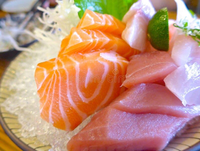 Japanese Sashimi with raw fish. At restaurant stock photo