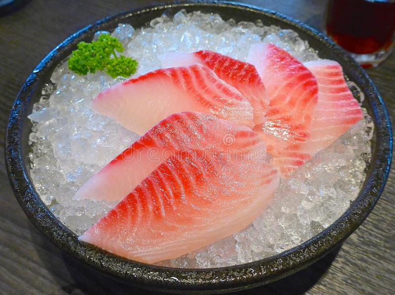 Japanese Sashimi with raw fish. At restaurant stock images