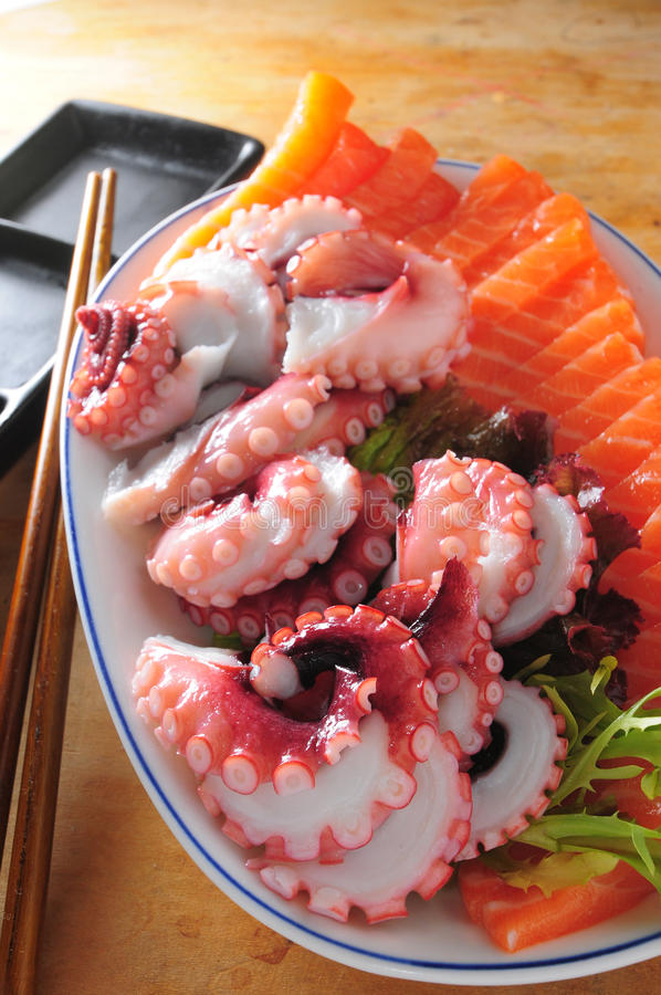 Japanese sashimi platter. Japanese sashimi salmon octopus platter stock images