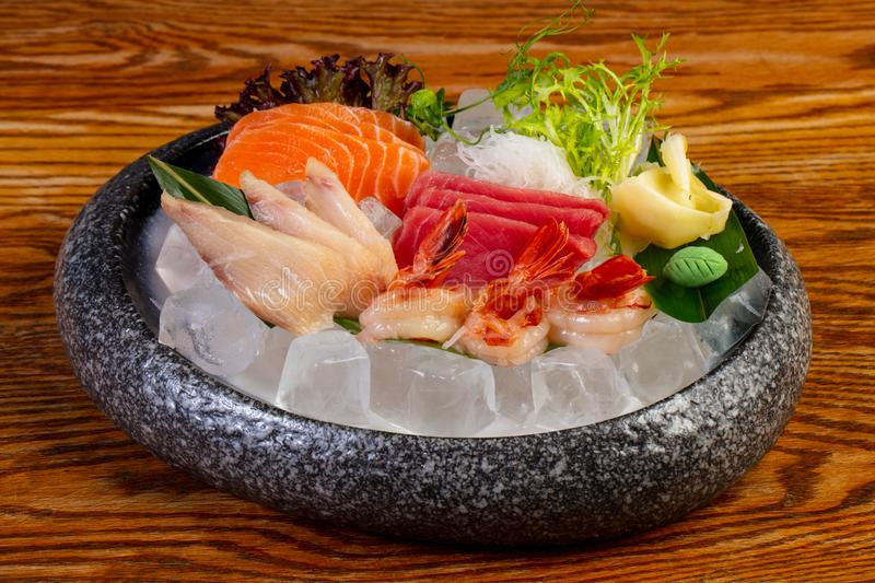Japanese Sashimi set. On ice stock photography