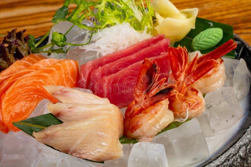 Japanese Sashimi set. On ice stock image