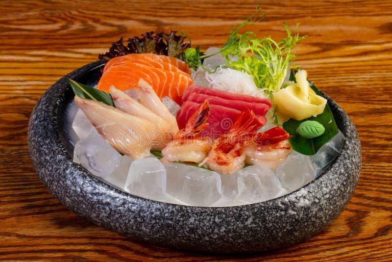 Japanese Sashimi set. On ice royalty free stock images