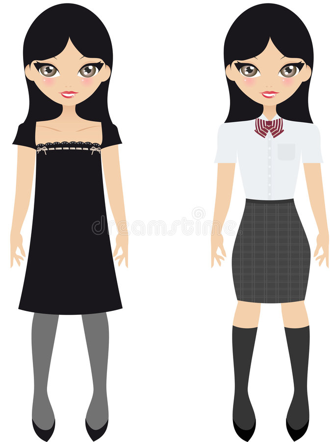 Japanese School Girl. Pretty Black Haired Japanese Girl Shown Wearing A Black Dress And Then A School Uniform vector illustration