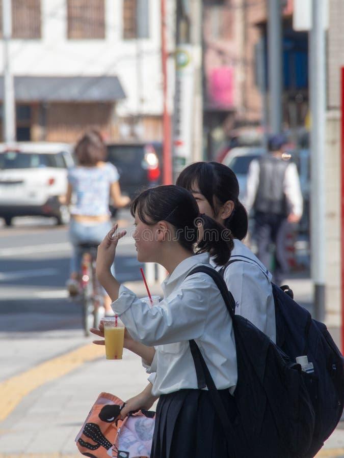 Japanese schoolgirls in Hiroshima stock image