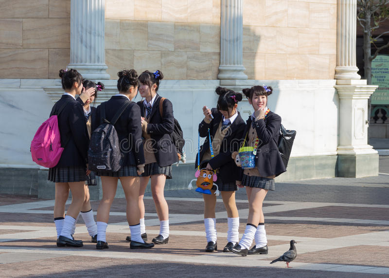 Japanese schoolgirls royalty free stock photos