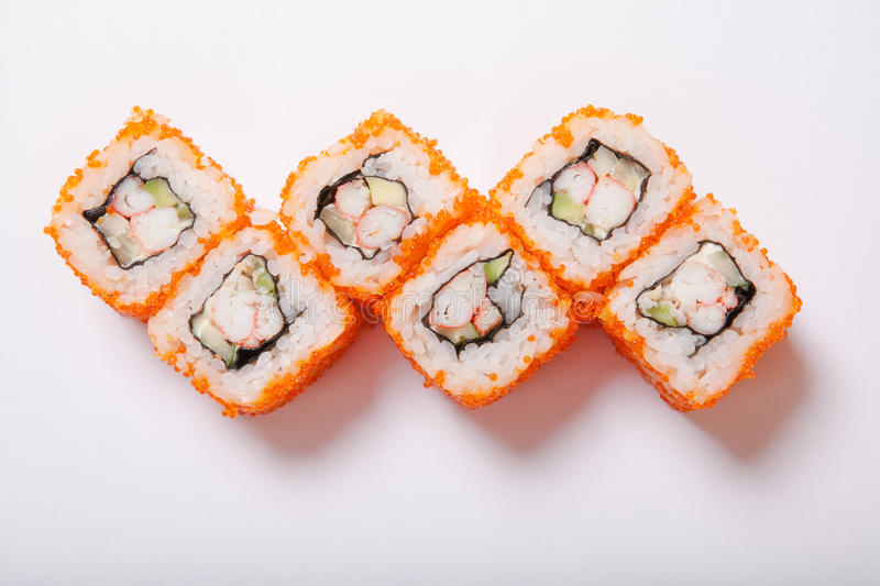 Japanese seafood sushi , roll on a white background royalty free stock images