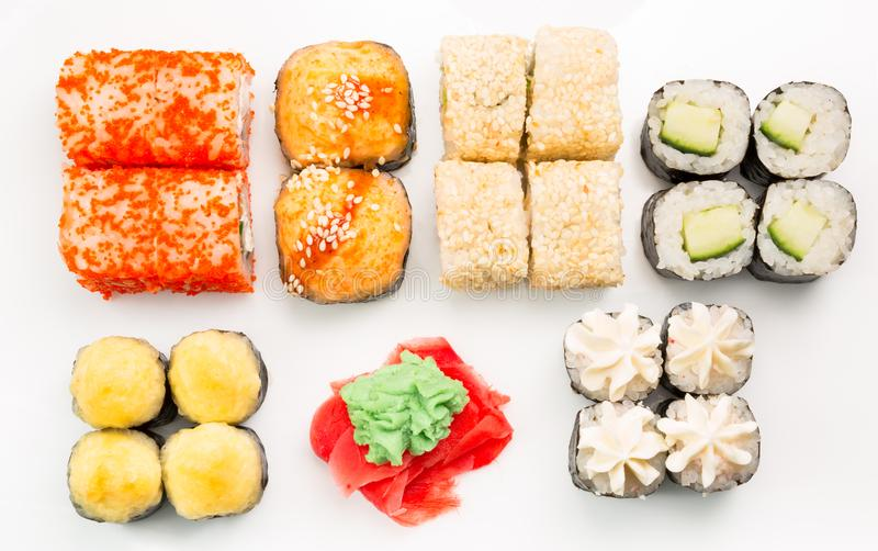 Japanese seafood sushi , roll on a white background stock photo