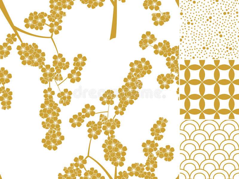 Japanese seamless pattern set with traditional ornaments royalty free illustration