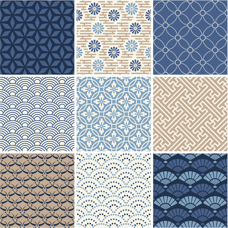 Japanese seamless patterns set stock illustration