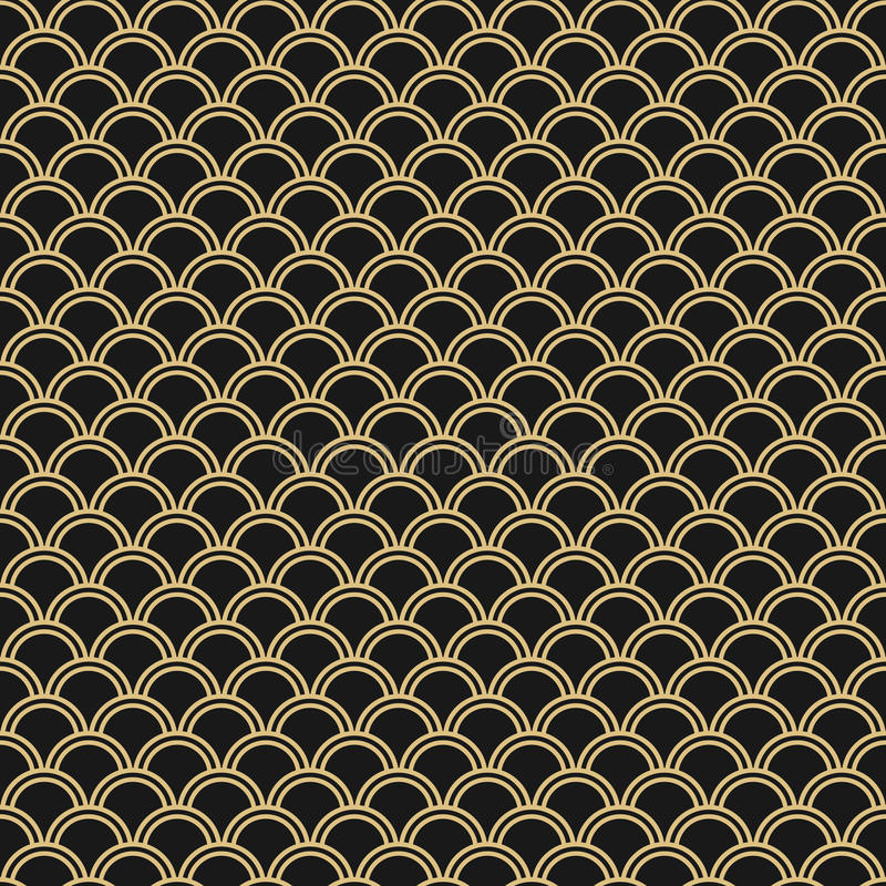 Japanese seamless vector pattern. Traditional oriental wave background. Black and gold royalty free illustration