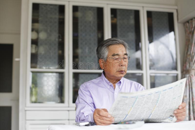 Japanese senior man, image of healthy and healthy daily life, royalty free stock photos