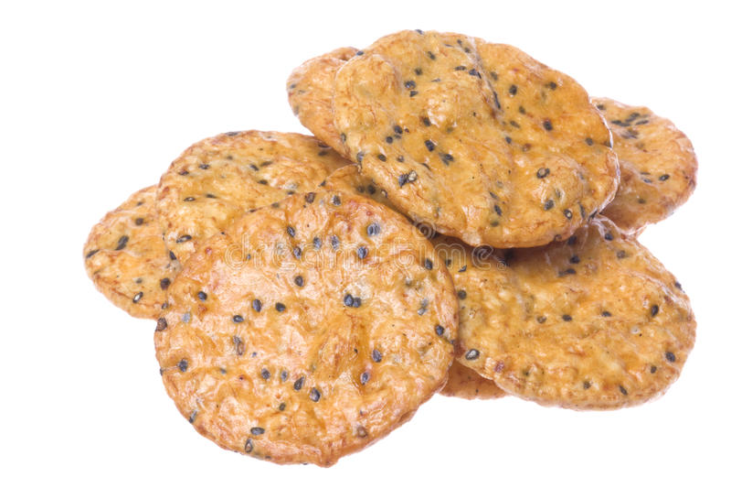 Japanese Sesame Rice Crackers Macro Isolated stock photos