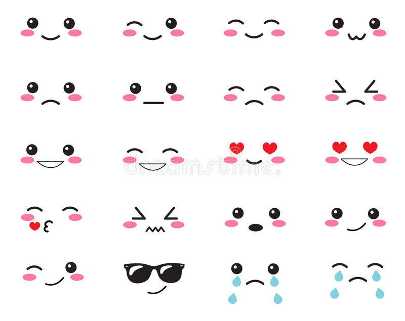 Japanese set emotions. Set Japanese smiles. Kawaii face on a white background. Cute Collection emotions anime style. Anime Smiles vector illustration