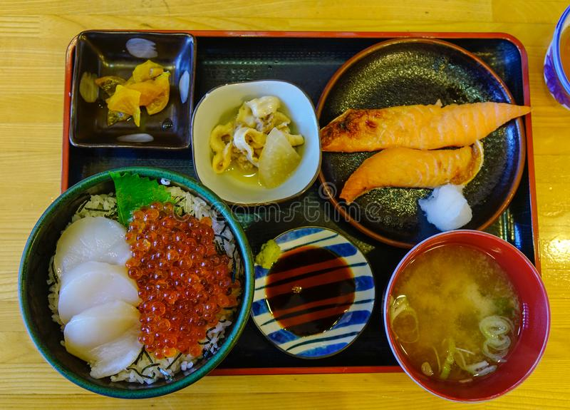 Japanese set meal for lunch or dinner stock image