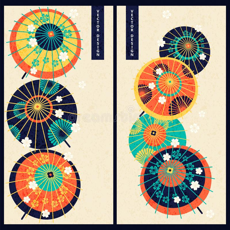 Japanese set with two cards with colorful vintage japanese traditional umbrellas. design for gift, print, business, card. Japanese vector set with two cards with stock illustration