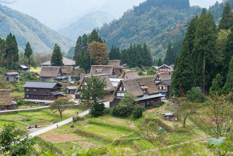 Japanese Shirakawago village. Beautiful scenery landscape royalty free stock image