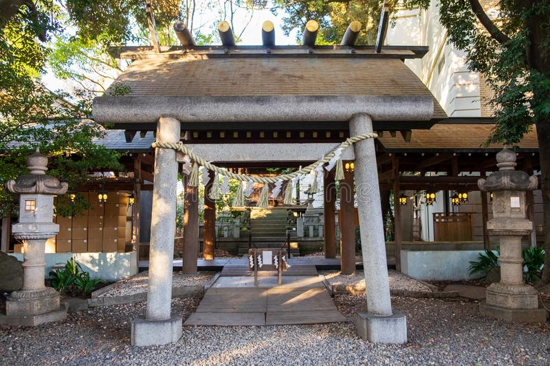 Japanese shrine in the city for people to worship or pray. The Japanese shrine in the city for people to worship or pray royalty free stock photos