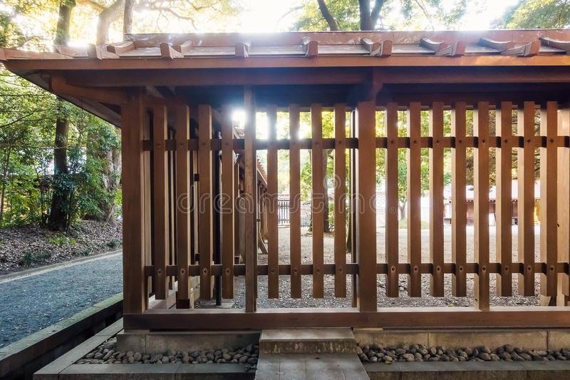Japanese shrine in forest stock photography