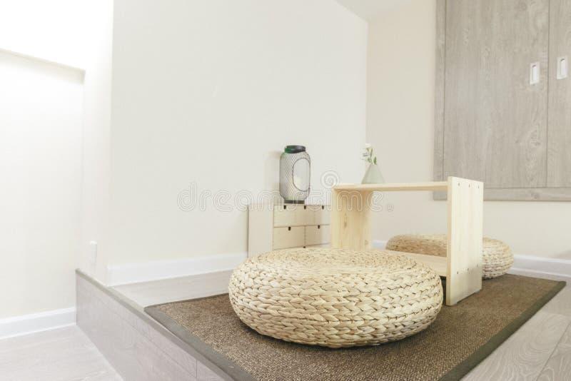 Japanese Sitting Cushions on Ground Modern Contemporary Interior Design Furniture White. Japanese Sitting Cushions on Ground Modern Contemporary Interior Design royalty free stock photos