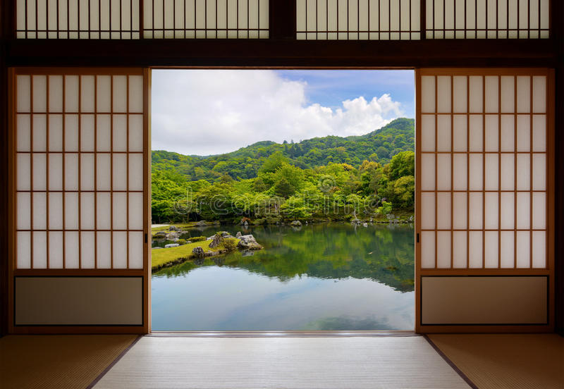 Download Japanese Sliding Doors And Beautiful Pond Garden Stock Image - Image of home relaxation & Japanese Sliding Doors And Beautiful Pond Garden Stock Image - Image ...