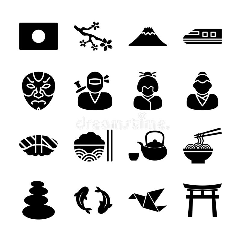 Japanese solid icons. Vector design royalty free illustration
