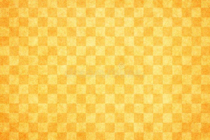 Japanese spring orange color checkered pattern paper texture background stock illustration