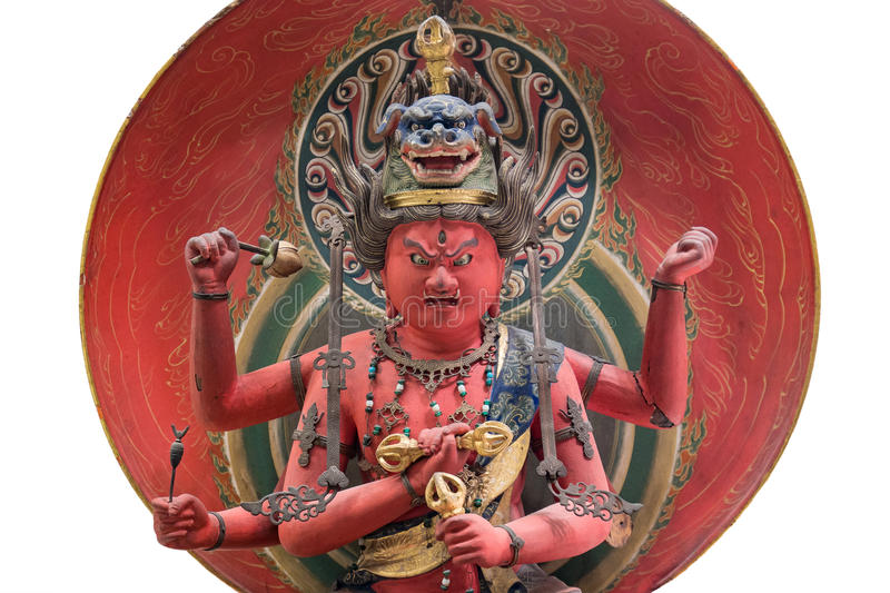 Japanese statue of the king of light. A japanese statue of the King of light, has the power to crush desire and free the believer from lust. has a lion headdress stock images