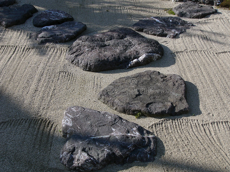 Japanese stone garden stock photo