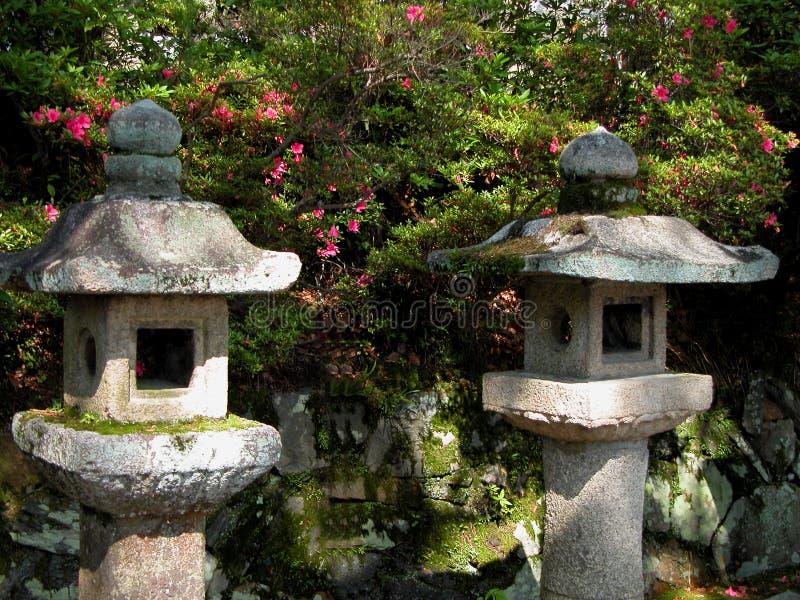 Japanese stone lanterns vector illustration