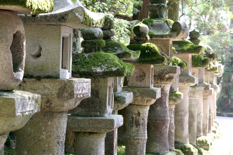 Japanese stone lanterns stock image