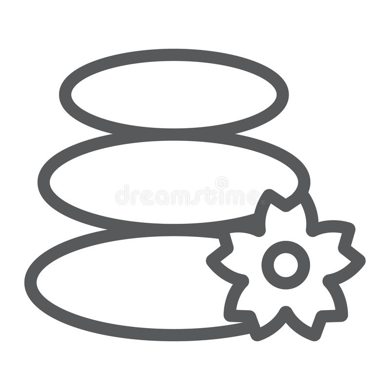 Japanese stones line icon, asian and balance, hot stones sign, vector graphics, a linear pattern on a white background. vector illustration
